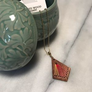 FairTrade Handcrafted Indian Wood Pendant Necklace